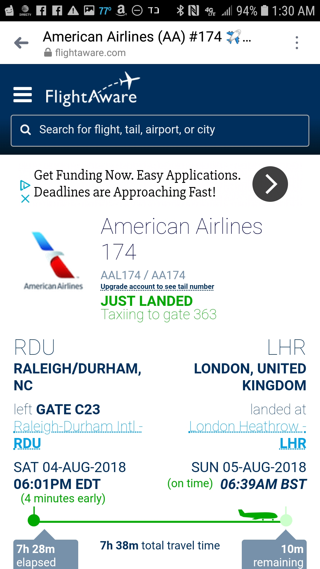 Screenshot of plane landing in England
